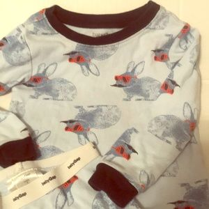 Baby Gap funny pajamas 2T mustache & glasses bunny